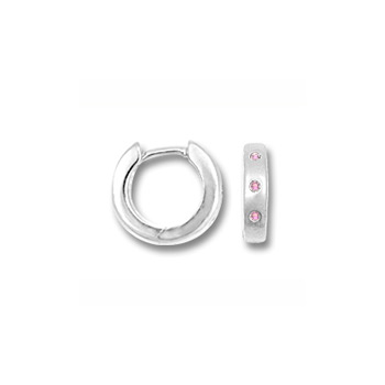 Baby, Child Huggies - Sterling Silver Rhodium Pink Sapphire Huggie Hoop Earrings for Girls - (Baby - Teen) - BEST SELLER