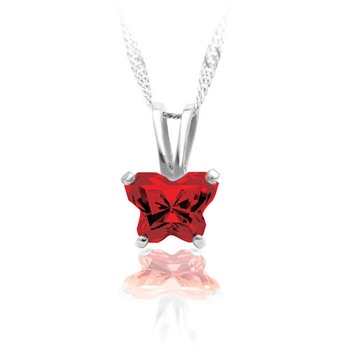 Girls Butterfly Necklace - CZ January Birthstone