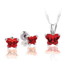 Teeny Tiny Butterfly Necklace & Earring Set for Girls by Bfly® - January Garnet Cubic Zirconia (CZ) Birthstone - Sterling Silver Rhodium Girls Jewelry - 2 Item Set - Save $5