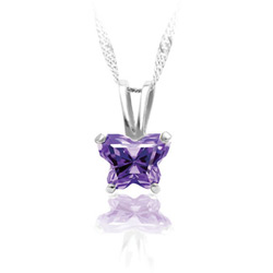Girls Butterfly Necklace - CZ February Birthstone/
