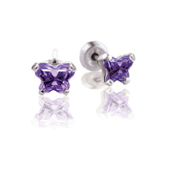 Kids Butterfly Earrings - CZ February Birthstone/