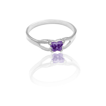 Teeny Tiny Butterfly Ring for Girls by Bfly® - February Amethyst Cubic Zirconia (CZ) Birthstone - Sterling Silver Rhodium Child Ring - Size 3