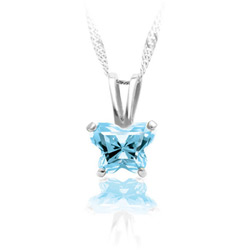 Girls Butterfly Necklace - CZ March Birthstone/