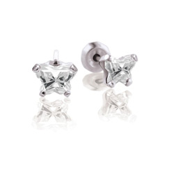 Teeny Tiny Butterfly Earrings for Baby Girls by Bfly® - April Diamond Cubic Zirconia (CZ) Birthstone - Sterling Silver Rhodium Kids Earrings with Push on Safety Backs/