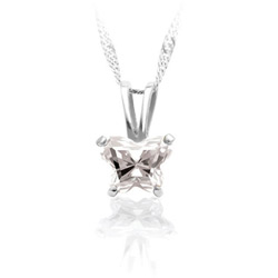 Girls Butterfly Necklace - CZ April Birthstone/