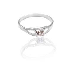 Teeny Tiny Butterfly Ring for Girls by Bfly® - April Diamond Cubic Zirconia (CZ) Birthstone - Sterling Silver Rhodium Child Ring - Size 3 - BEST SELLER/