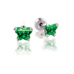 Teeny Tiny Butterfly Earrings for Baby Girls by Bfly® - May Emerald Cubic Zirconia (CZ) Birthstone - Sterling Silver Rhodium Kids Earrings with Push on Safety Backs/