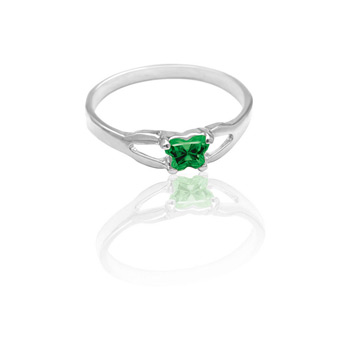 Teeny Tiny Butterfly Ring for Girls by Bfly® - May Emerald Cubic Zirconia (CZ) Birthstone - Sterling Silver Rhodium Child Ring - Size 3