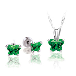 Teeny Tiny Butterfly Necklace & Earring Set for Girls by Bfly® - May Emerald Cubic Zirconia (CZ) Birthstone - Sterling Silver Rhodium Girls Jewelry - 2 Item Set - Save $5/