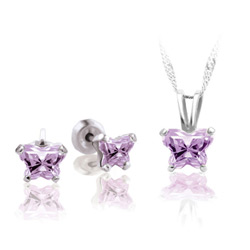 Teeny Tiny Butterfly Necklace & Earring Set for Girls by Bfly® - June Alexandrite Cubic Zirconia (CZ) Birthstone - Sterling Silver Rhodium Girls Jewelry - 2 Item Set - Save $5/