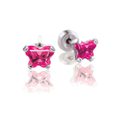 Teeny Tiny Butterfly Earrings for Baby Girls by Bfly® - July Ruby Cubic Zirconia (CZ) Birthstone - Sterling Silver Rhodium Kids Earrings with Push on Safety Backs/