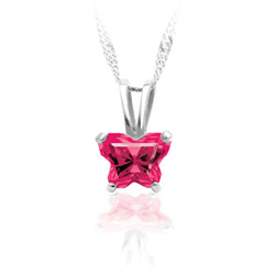Girls Butterfly Necklace - CZ July Birthstone/