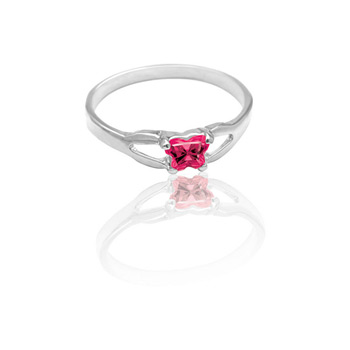 Teeny Tiny Butterfly Ring for Girls by Bfly® - July Ruby Cubic Zirconia (CZ) Birthstone - Sterling Silver Rhodium Child Ring - Size 3