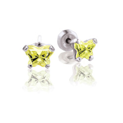 Teeny Tiny Butterfly Earrings for Baby Girls by Bfly® - August Peridot Cubic Zirconia (CZ) Birthstone - Sterling Silver Rhodium Kids Earrings with Push on Safety Backs/