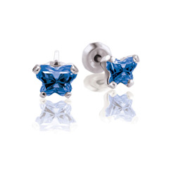Teeny Tiny Butterfly Earrings for Baby Girls by Bfly® - September Blue Sapphire Cubic Zirconia (CZ) Birthstone - Sterling Silver Rhodium Kids Earrings with Push on Safety Backs/
