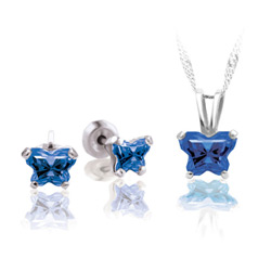 Teeny Tiny Butterfly Necklace & Earring Set for Girls by Bfly® - September Blue Sapphire Cubic Zirconia (CZ) Birthstone - Sterling Silver Rhodium Girls Jewelry - 2 Item Set - Save $9 with this set/