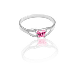 Teeny Tiny Butterfly Ring for Girls by Bfly® - October Pink Tourmaline Cubic Zirconia (CZ) Birthstone - Sterling Silver Rhodium Child Ring - Size 3/
