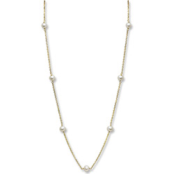 Beautifully Elegant Little Girl's Pearl Station Necklace - 4mm Freshwater Cultured Pearls - 14K Yellow Gold - 15
