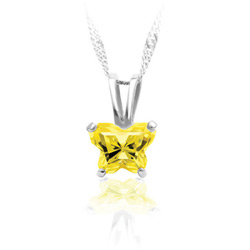 Girls Butterfly Necklace - CZ November Birthstone/