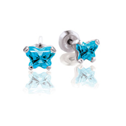 Teeny Tiny Butterfly Earrings for Baby Girls by Bfly® - December Blue Topaz Cubic Zirconia (CZ) Birthstone - Sterling Silver Rhodium Kids Earrings with Push on Safety Backs/