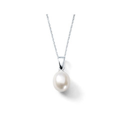 Elegant Teardrop Freshwater Cultured Pearl Necklace by Bridal Party Gifts™ - Sterling Silver Rhodium - Includes 18