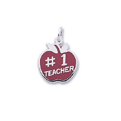 Rembrandt Sterling Silver #1 Teacher Apple Charm – Engravable on back - Add to a bracelet or necklace - BEST SELLER/