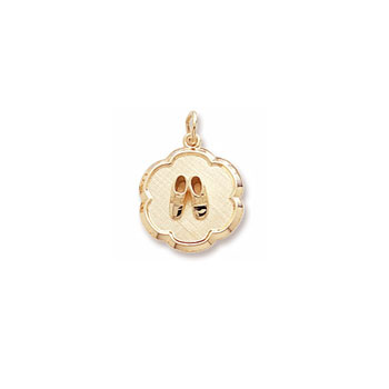 Rembrandt 10K Yellow Gold Baby Shoes Disc Charm – Engravable on back - Add to a bracelet or necklace