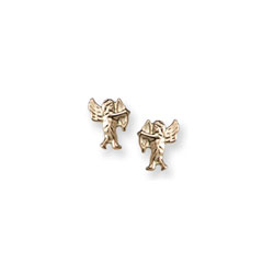 Gold Cherub (Baby Angel) Earrings for Girls - 14k Yellow Gold Screw Back Earrings for Baby, Toddler, Child/