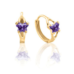 Baby 14K Yellow Gold February Amethyst (Cubic Zirconia) C.Z. Tiny Butterfly Huggie Hoop Earrings/