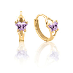 Baby 14K Yellow Gold June Alexandrite (Cubic Zirconia) C.Z. Tiny Butterfly Huggie Hoop Earrings/