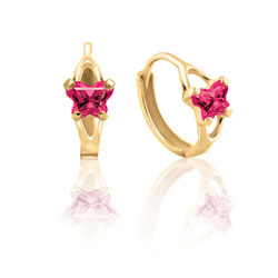 Baby 14K Yellow Gold July Ruby (Cubic Zirconia) C.Z. Tiny Butterfly Huggie Hoop Earrings/