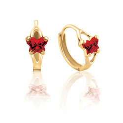 Baby 10K Yellow Gold January Garnet (Cubic Zirconia) C.Z. Tiny Butterfly Huggie Hoop Earrings/