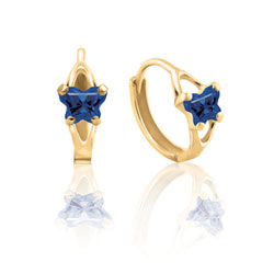 Baby 10K Yellow Gold September Blue Sapphire (Cubic Zirconia) C.Z. Tiny Butterfly Huggie Hoop Earrings/