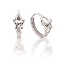 Children's Huggie Hoop Earrings - 14K White Gold - April/