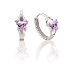 Baby 14K White Gold June Alexandrite (Cubic Zirconia) C.Z. Tiny Butterfly Huggie Hoop Earrings/