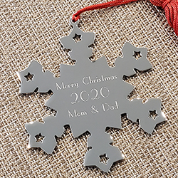 Silver Snowflake Personalized Ornament - Engravable on front and back - BEST SELLER/