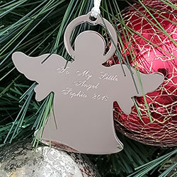Silver Angel Personalized Ornament - Engravable on front and back - BEST SELLER/