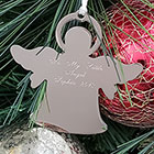Silver Angel Personalized Ornament - Engravable on front and back - BEST SELLER