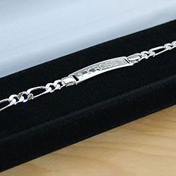 Boys Figaro Style Sterling Silver Identification Bracelets - Engravable on the front and back - Size 6