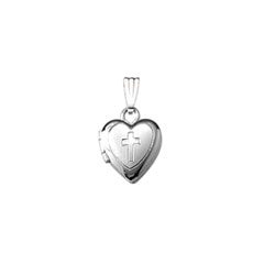 Religious Lockets to Love - Sterling Silver Rhodium 9mm Tiny Cross Heart Locket - 13