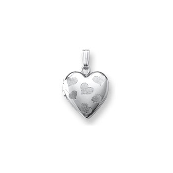 "Adorable Little Girls Heart Locket to Love - Sterling Silver Rhodium 13mm Heart Locket - Engravable on back - 15"" Chain Included - BEST SELLER"