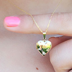 Adorable Little Girls Heart Locket to Love - 14K Yellow Gold 13mm Heart Locket - Engravable on back - 15