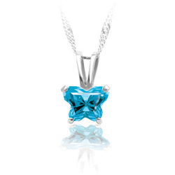 Girls Butterfly Necklace - CZ December Birthstone - 14K White Gold/