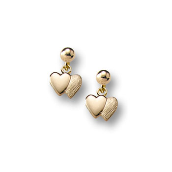 Double Heart Dangle Earrings for Girls - 14K Yellow Gold Screw Back Earrings for Baby Girls