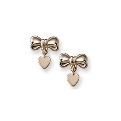 Heart Bow Dangle Earrings for Girls - 14K Yellow Gold Screw Back Earrings for Baby Girls/