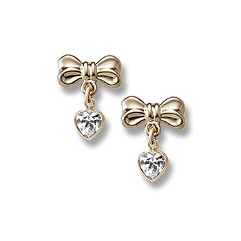 Heart Bow Dangle Earrings for Girls - 14K Yellow Gold April Diamond (Cubic Zirconia) C.Z. Screw Back Earrings for Baby Girls