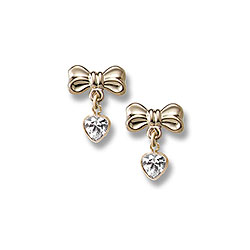 Heart Bow Dangle Earrings For S 14k Yellow Gold April Diamond Cubic Zirconia