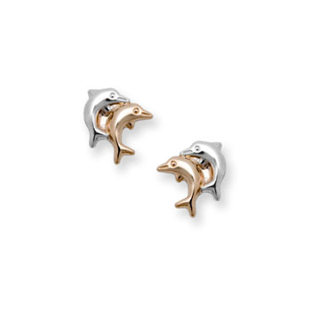 Gold Double Dolphin Earrings for Girls - Two-Tone 14K Yellow Gold Screw Back Earrings for Baby, Toddler, Child