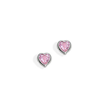 September Pink Sapphire Cubic Zirconia (CZ) Heart Earrings for Girls - 14K White Gold Screw Back Earrings for Baby, Toddler, Child