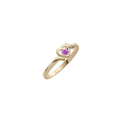 Toddler Birthstone Rings - 14K Yellow Gold Girls February Amethyst Birthstone Ring - Size 3 1/2 - Perfect for Toddlers and Grade School Girls/